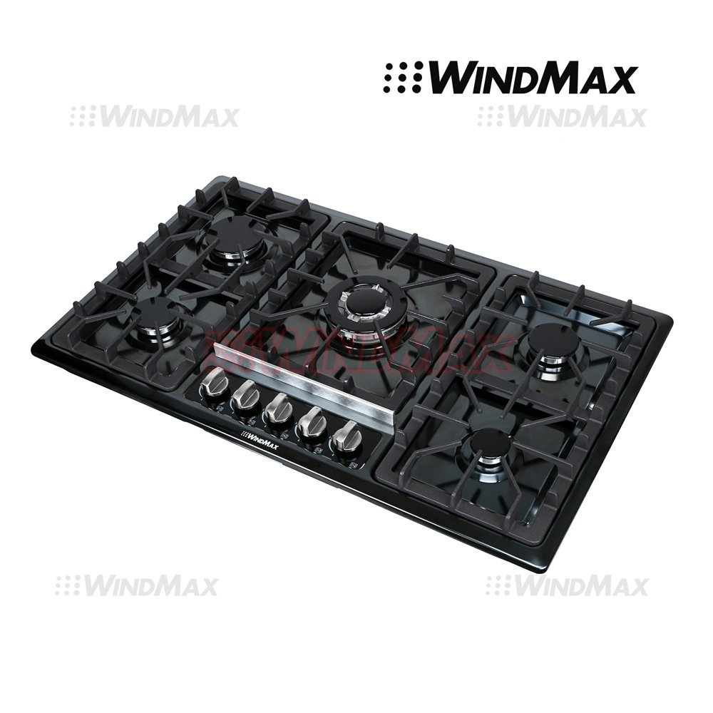 "WindMax® 34"" Black Titanium Stainless Steel 5 Burner Built-In Stoves Gas Cooktop Cooker"