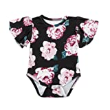 Hatoys Newborn Baby Girls Fly Sleeve Floral Print Clothes Jumpsuit Romper Outfits (3M, Black)