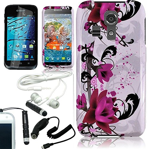 [Arena] Purple Lily Flower Cover Fitted Snap On Hard Case For Kyocera Hydro Life C6530N + Free Arena Accessory Kit