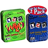 LCR (Left Right Center) Dice Game in Blue Tin & LCR Wild Dice Game in Green Tin Gift Set Bundle - 2 Pack
