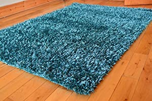 THICK QUALITY HEAVY PLAIN TEAL SPAGHETTI SPARKLE SHAGGY RUG 60 x 120 CM (FREE UK MAINLAND DELIVERY) by RUGS 4 HOME