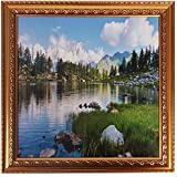 DD Tech Scenery Poster With Wooden Frame (35 In X 35 In X 3 In, Gold, ST_goldn_aplno.8_sky_scenery)