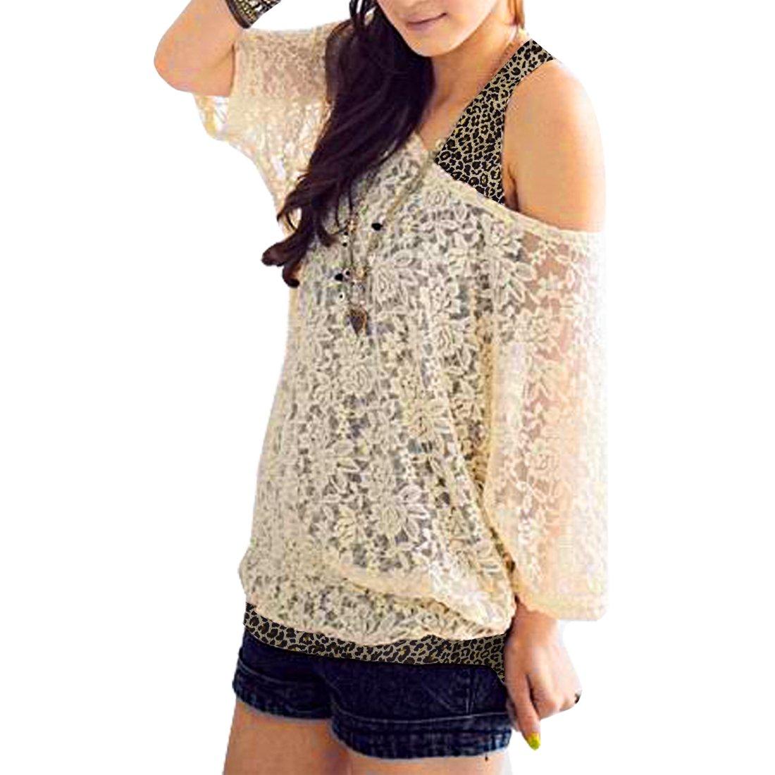 Allegra K Women Scoop Neck Mid Sleeve Sheer Shirt w Leopard Print Tank Top