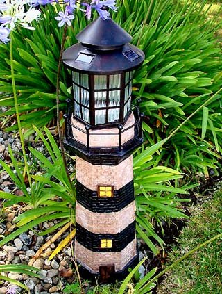 Decorative garden solar powered large lighthouse - Decorative garden lights solar powered ...