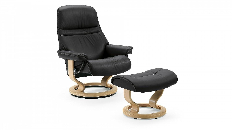 Stressless® Sunrise Sessel mit Hocker (M) Schwarz günstig online bestellen