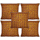 Home Decor Indian Cushion Cover Set Adorn With Traditional Golden Embroidery & Mirror Work 16 X 16 Inches