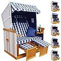 Homelux Strandkorb Deluxe Polyrattan Sylt Ostsee Volllieger inkl. 4x Kissen XL120cm Blau von PRIMOPET - Gartenmöbel von Du und Dein Garten