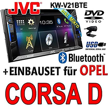 Opel corsa d, noir jVC kW-v21BTE tFT dVD bluetooth cD-mP3/uSB avec kit de montage