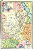 SUDAN: Anglo-Egyptian Sudan; inset Khartoum & Omdurman. HARMSWORTH 1920 map