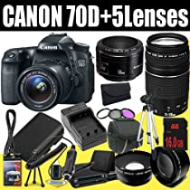Canon EOS 70D 20.2 MP Dual Pixel CMOS Digital SLR Camera w/EF-S 18-55mm f/3.5-5.6 IS STM Lens + EF 75-300mm f/4-5.6 III Telephoto Zoom Lens + Canon EF 50mm f/1.8 II SLR Lens + LP-E6 Replacement Lithium Ion Battery + External Rapid Charger + 16GB SDHC Class 10 Memory Card + 58mm Wide Angle Lens + 58mm 2x Telephoto Lens + 58mm 3 Piece Filter Kit + Mini HDMI Cable + Carrying Case + Full Size Tripod + Multi Card USB Reader + Memory Card Wallet + Deluxe Starter Kit DavisMAX Bundle