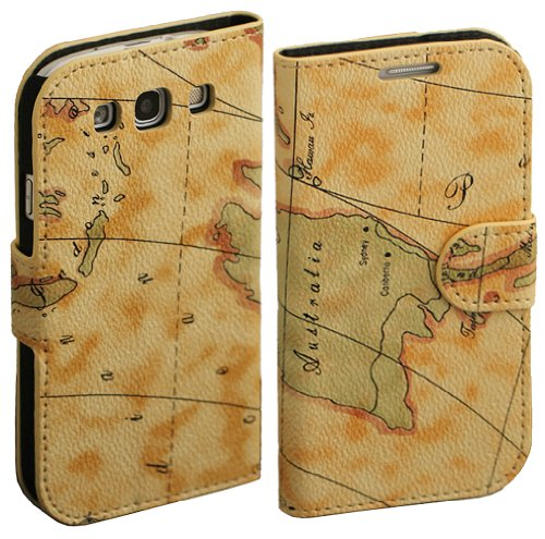 Map Pu Leather Wallet Case Cover Stand For Samsung Galaxy S3 Siii I9300 (Color: Beige)