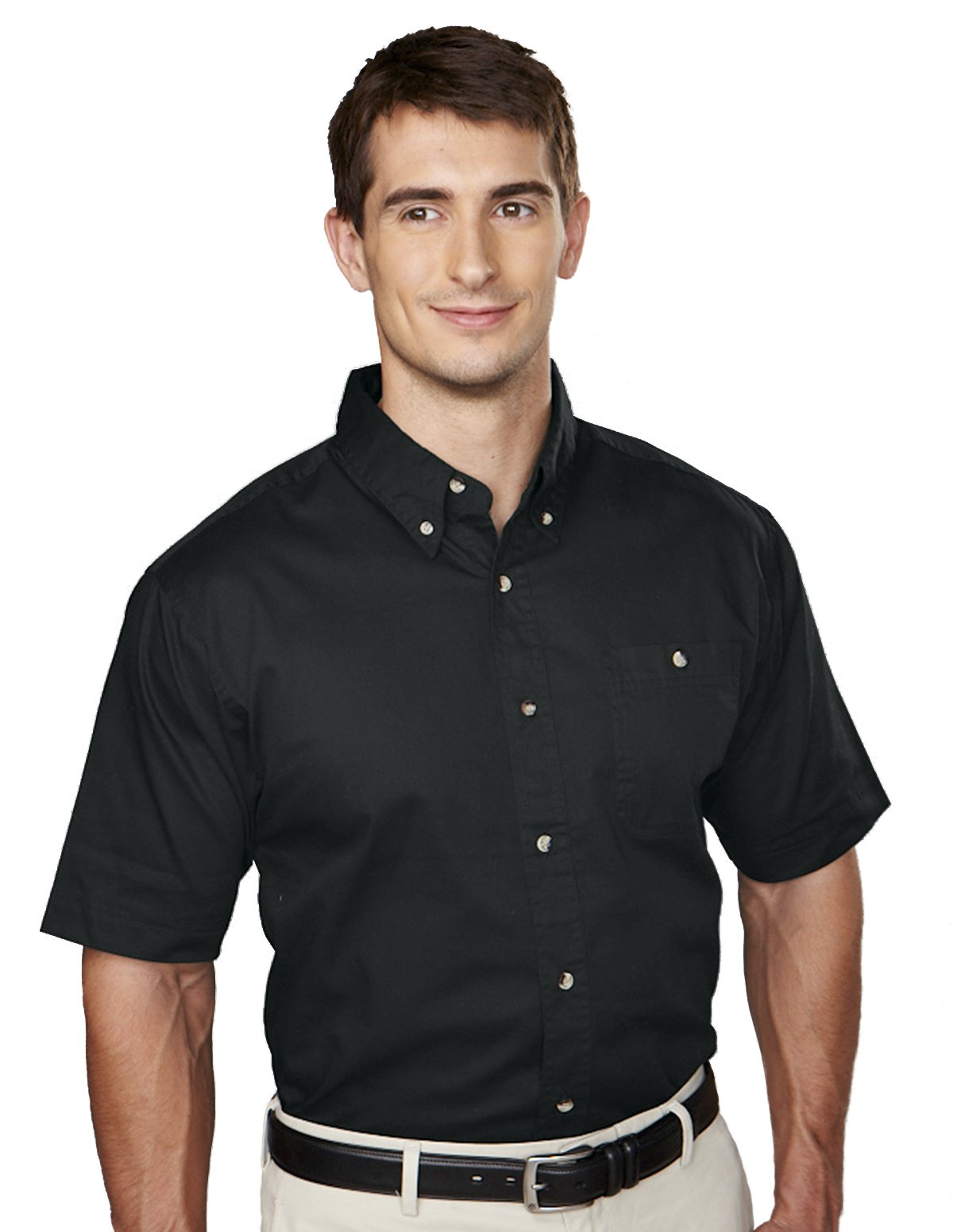 Pocket Twill Short Sleeve Mens Cotton Shirt
