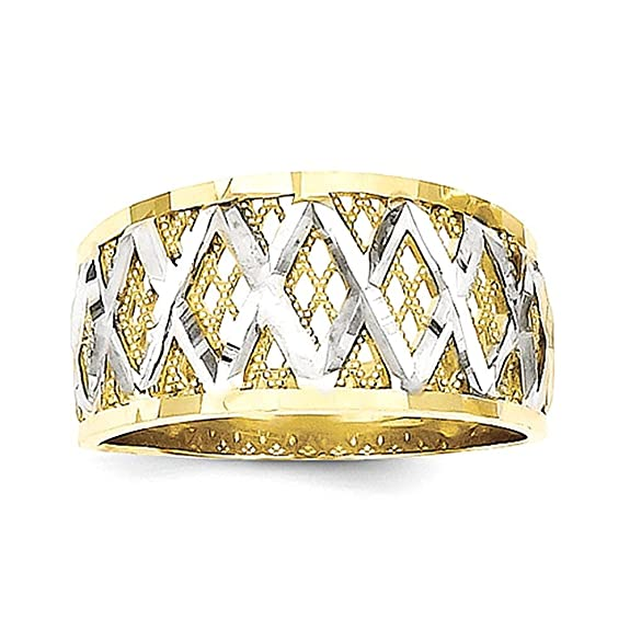 10k & Rhodium Diamond-Cut Filigree Ring