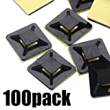 Cord Holder Sel-Adhesive 20 x 20mm Cord Wire Tie Mount Base lack Cable Tie Base Zip Tie Adhesive Organizing Cable Cords for Home and Office (Color: 100pcs black 2*2cm)