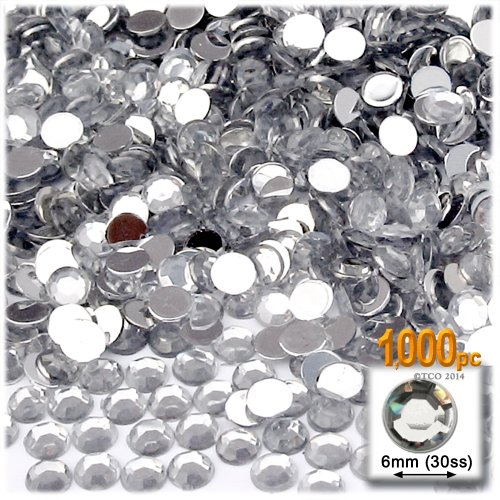 The Crafts Outlet 1000-Piece Flat Back Loose Acrylic Round Rhinestones, 6mm, Crystal Clear (Crystals Crafts compare prices)