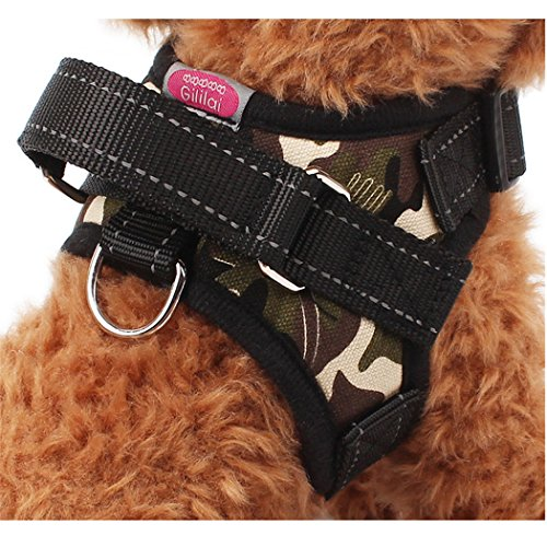 Gililai Adjustable No Pull Dog Collar Harness with Handle On Top - Best for Walking, Hiking & Training Canie - 4 Colors and 4 Sizes (Small, camouflage) (Pomeranian Harness compare prices)