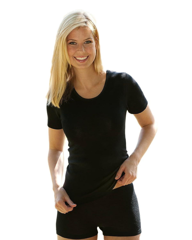 Damen Unterhemd kurzarm, Wolle Seide, 4 Farben, Gr. 34-48
