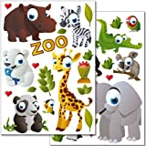 Wandkings Wall Stickers Zoo Animals Sticker Set - 37 Stickers On 2 US Letter Sheets (each 8.3 X 11.7 Inch)