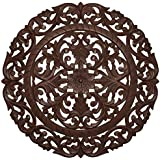 """Fetco Home Decor Leroy Handcrafted Round Wall Medallion, 36""""/Large, Espresso"""