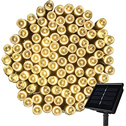 Solar String Lights,Mulcolor 72ft 200 LED Solar Powered Waterproof Fairy Outdoor String Lights Christmas Lights with 6 Working Modes, for Patio Gardens Homes Wedding Party Outdoor Decorations