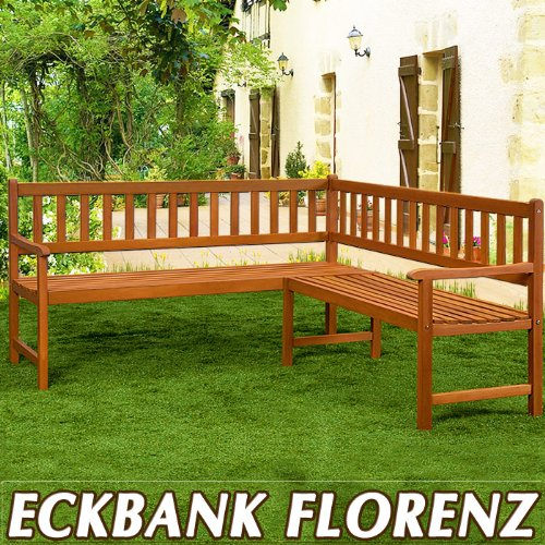 eckbank tolle gartenbank aus witterungsbest ndigem eukalyptus holz f r drinnen und oder. Black Bedroom Furniture Sets. Home Design Ideas