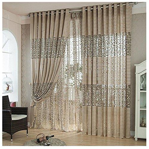 Lisingtool Curtain,Tree leaf Tulle Door Window Curtain