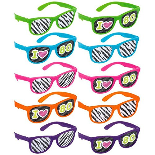 Amscan Totally 80s Glasses with Printed See-Through Lens. Place a pair of these adult-size, groovy glasses on your tables for each guest to wear at your party or event.