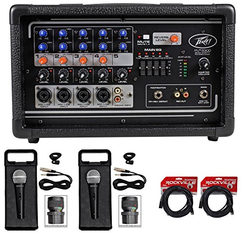 Package: Peavey PV5300 200 Watt 5-Channel Powered Live Sound Mixer + (2) Rockville RMC-XLR High-End Metal Handheld Wired Microphones + (2) RCXFM20E-B Black 20 Ft Female to Male XLR Microphone Cables (High End Mixers compare prices)