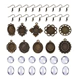DROLE Dangle Cabochon Earrings Setttings Kit-60Pcs Metal Earring Pendant Bezel 60Pcs Glass Dome Tiles and 100Pcs Earring Wire Hooks for DIY Earring Making Antique Bronze Total 220Pcs (Tamaño: Mixed-Antique Bronze)