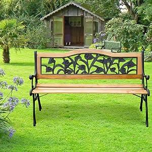 Banc banquette de jardin terrasse parc bois et fonte meuble de jardin 3 places 126x52x76cm charge max 150kg neuf 33