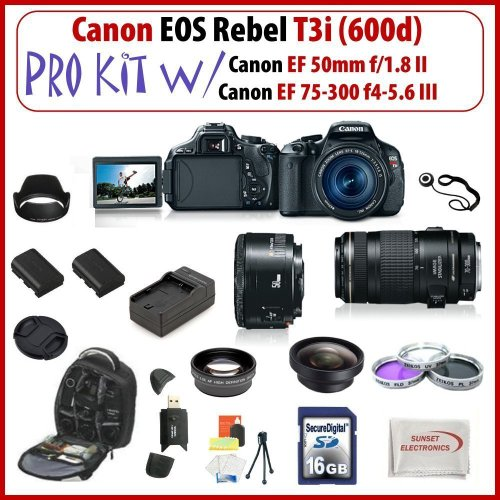 Canon EOS Rebel T3i SLR Digital Camera Kit with Canon EF 50mm f/1.8 II & Canon EF 75-300mm f/4-5.6 III Lenses + Huge SSE Accessories Package