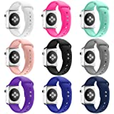 Apple Watch Band, HuanlongTM New Soft Silicone Sport Style Replacement Iwatch Strap for Apple Wrist Watch (9 colors/bandle 42mm S/M)