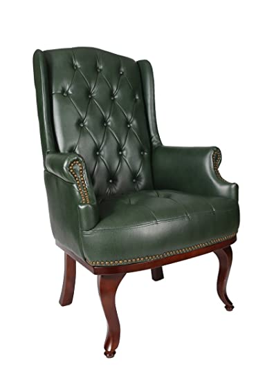 Queen Anne Fireside Poltrona tipo Chesterfield - In pelle, stile antico, colore verde