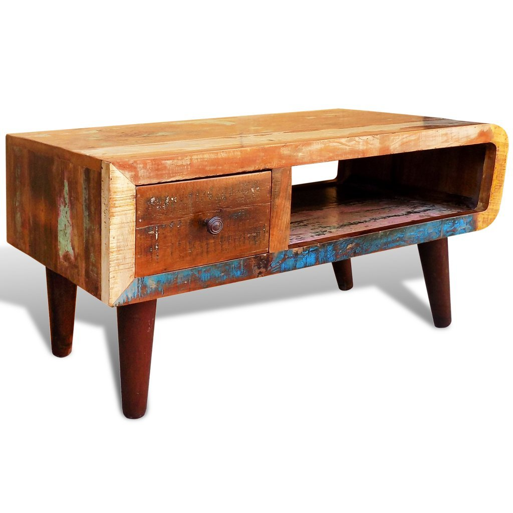 vidaXL Antique-style Reclaimed Wood Coffee Table Curved Edge 2
