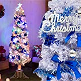 幻想的にキラメク 聖夜を彩るクリスマスツリーセット 「180cmサイズ 光ファイバーツリー」【ホワイト(白色)】 LEDライト付き 飾りいろいろ6種のオーナメント