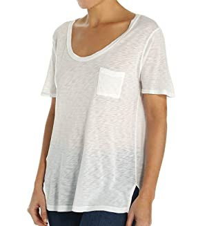 Splendid Women's Round Neck Short Sleeve Slub Tee, White, Medium