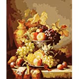 ABEUTY DIY Paint by Numbers for Adults Beginner - Grape Fruit Art 16x20 inches Number Painting Anti Stress Toys (Wooden Framed) (Color: Grape, Tamaño: Wooden Framed)