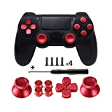 TOMSIN Metal Buttons for DualShock 4, Aluminum Metal Thumbsticks Analog Grip & Bullet Buttons & D-pad for PS4 Controller (Red) (Color: Red)