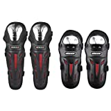 Dailyfun 4Pcs Alloy Steel Motorcycle Kneepad Elbow Guard Racing Cross Country Motorcyclist Equipment Anti-Fall for Youth and Adult Protective Kneecap Knee Shin (Color: Black)
