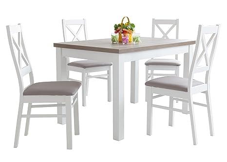 Holzgestellt Esstisch mit 4 stuhlen: 110x70 oder 120x80 weiß und Drift, Esszimmertisch Tischgruppe Essgruppe - BONA (MDF-Platte + Naturfurnier, 110x70cm)