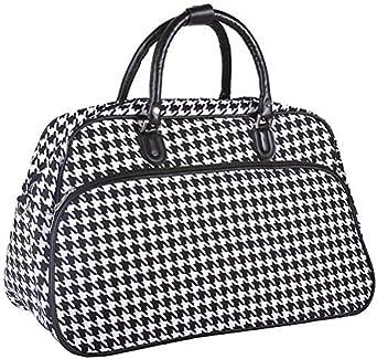 World Traveler Houndstooth Travel Bag, Black and White