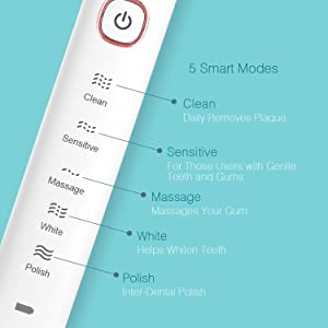 Sonic Electric Toothbrush for Adults and Teens, Proalpha Portable Travel Inductive Wireless Charging Waterproof Power Toothbrush with 4 reminder Brush Heads, 5 Modes with 2 Minutes Timer(white) (Color: White)