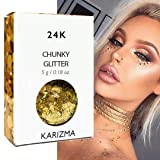 24K Gold Chunky Glitter ? KARIZMA BEAUTY ? 10g Festival Glitter Cosmetic Face Body Hair Nails