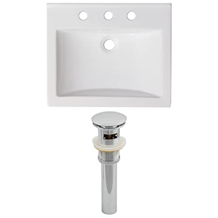 "Jade Bath JB-15571 21"" W x 18.5"" D Ceramic Top Set and Drain, White"