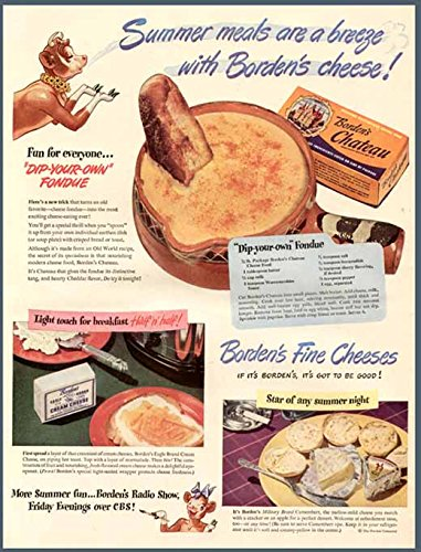 HOT FONDUE RECIPE IN 1946 BORDEN'S FINE CHEESES AD Original Paper Ephemera Authentic Vintage Print Magazine Ad / Article (Cow Fondue compare prices)