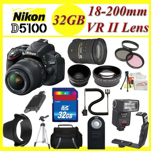 Nikon D5100 Digital SLR Camera with Nikon AF-S DX NIKKOR 18-200mm f/3.5-5.6G ED VR II Zoom Lens + 3 Extra Lens + 32GB SDHC Memory Card & More !!