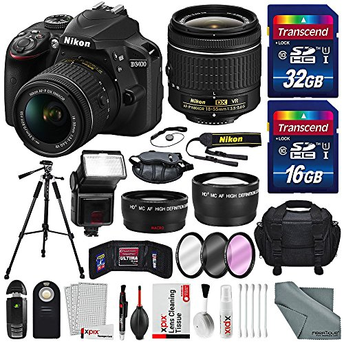 nikon-d3400-with-af-p-dx-nikkor-18-55mm-f-35-56g-vr-total-of-48-gb-sdhc-along-with-deluxe-accessorie