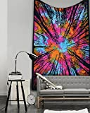 """""""New Launched"""" Popular Rainbow Tye dye Locust Trees From below tapestry Forest neture's whims Intricate Floral Design Indian Bedspread 54x84 Inches,multi color tapestry By Popular Handicrafts"""