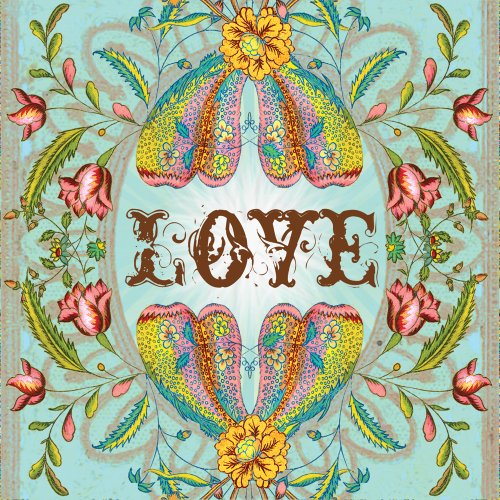 Papaya Love Floral 14 x14in. Canvas Giclee