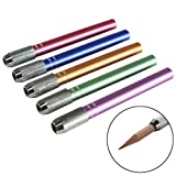 Akak Store 5 Pieces Per Set Assorted Color Adjustable Handy Aluminum Pencil Extender Holder School Hobby Art Writing Tools Pencil Lengthener Length Extender Holder